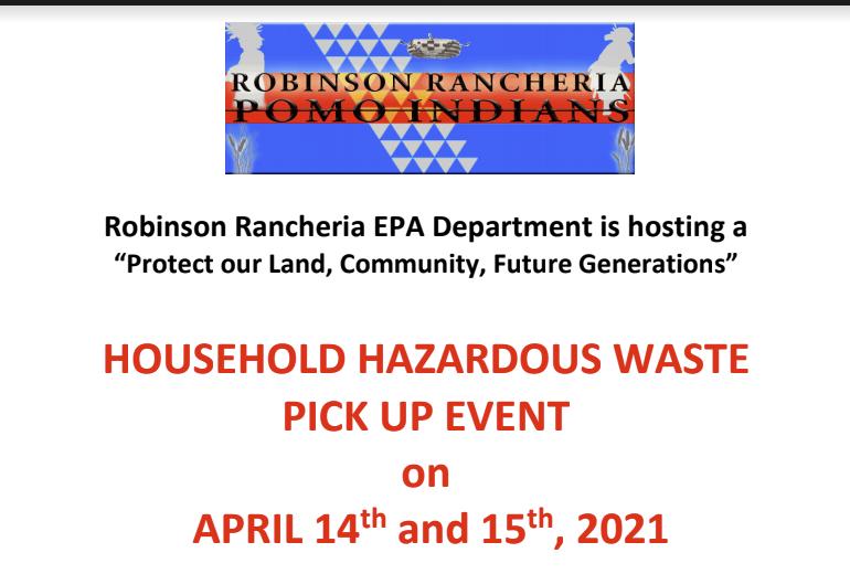 Household Hazardous Waste Pick Up Event 4/14 - 4/15